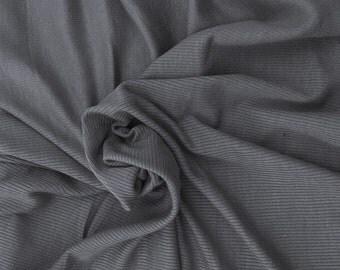 Modal Spandex 2x1 Rib Fabric by Yard - Gunmetal Gray 4 Way Stretch 7/16