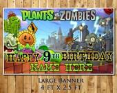 Plants vs Zombies personalized birthday party banner decoration vinyl backdrop great lifetime milestone keepsake