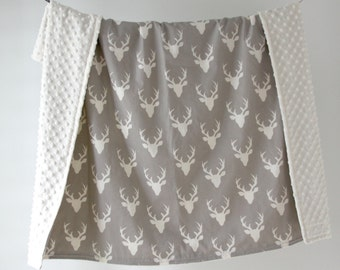 Large Baby/Toddler Blanket, Buck Head Gray with Ivory Minky Dot