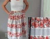 ON SALE Vintage 1950s Coral Floral Full Skirt