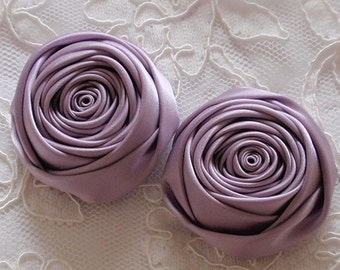 2 Handmade Ribbon Rolled Roses (2 inches) in Fresco MY-406-82 Ready To Ship
