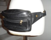 coach blaCk leather fanny pack  waist bag adjustible