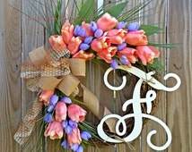 Spring Wreath,Wreath for Door,Tulips Wreath,Grapevine,Monogram Wreath,Wreath for Spring,Summer,Wreath for Door,Door Decoration,Wreaths