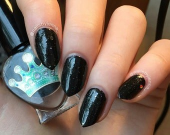 Rhysand by Polish Me, Royalty! 5-toxin free, cruelty free, handmade black scattered holographic nail polish