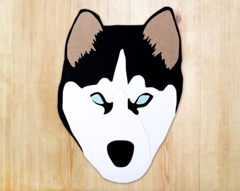 Husky Dog Head Greeting Card - Blank