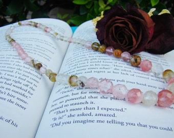 Women's Handmade Dusty Rose Pink Rhodonite Chunky Gemstone Necklace | Gemstone Jewelry | Rose Quartz | Necklace | Gemstones  | Gift For Her