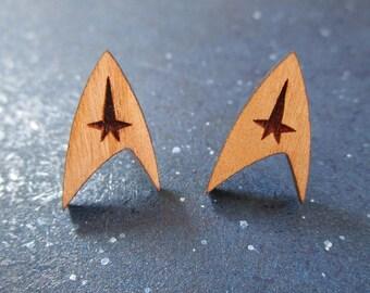 Star Trek Enterprise Starfleet Delta Command Insignia Logo Laser Cut Cherry Wood Earrings