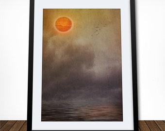 Orange Planet, Planet Print, Fine Art Print, Housewarming Gift, Living Room Decor, Orange and Grey Art, Abstract Art