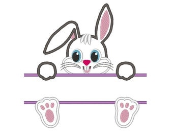 Split Bunny Rabbit Easter Applique Embroidery Design