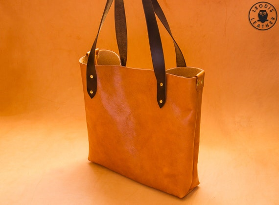 Leather Tote Bag Light Brown