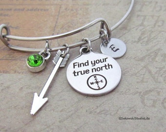 Find your true north Compass Arrow Charm Personalized Hand Stamped Initial Birthstone Antique Silver True North Charm Stainless Steel Bangle