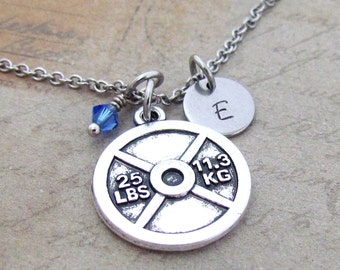 Weight Plate Charm Necklace, Personalized Hand Stamped Initial Monogram Birthstone Antique Silver Fitness Necklace