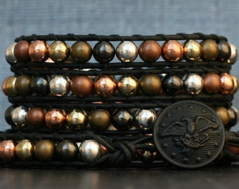 READY TO SHIP beaded leather wrap bracelet- mixed metal beads on black leather - silver, gold, bronze, copper, gunmetal - mens