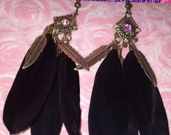 Swarovski crystal AB feather earrings.