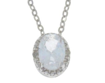 1 Ct White Sapphire & Diamond Oval Pendant .925 Sterling Silver
