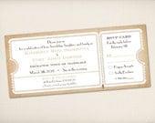 Wedding Invitation, Ticket Invitation, Modern Vintage Rustic, Old Fashioned Ticket (WITicket2)