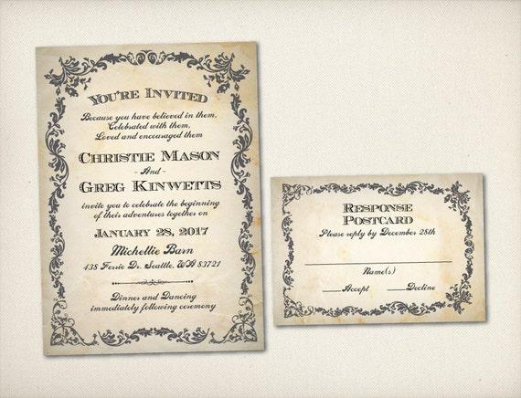 Baroque Wedding Invitations: Items Similar To Wedding Invitation, Vintage Rustic