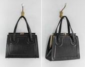 vintage 1960s purse | 60s kelly bag | black handbag