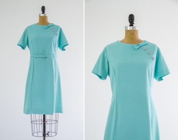 vintage 1950s blue dress | 1950s day dress | large