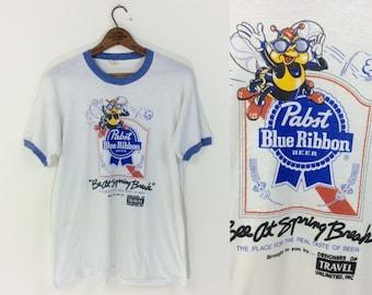 vintage 1980s PBR Pabst Blue Ribbon beer ringer t-shirt tee men's size XL
