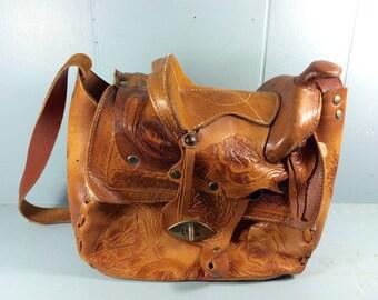 vintage 1970s tooled leather saddle purse