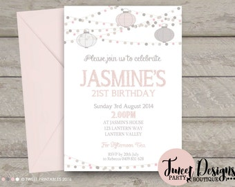String Lights Invitation, Adult Invitation, 21st Birthday Invitation, Lanterns Invitation, 40th Birthday Invitation, 30th Invitation, Party