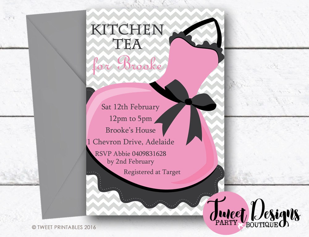 Kitchen tea invitation kitchen tea chevron printable kitchen for Bridal shower kitchen tea ideas fashion