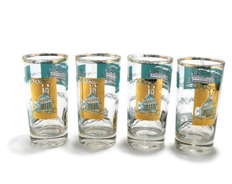 Vintage Libbey Southern Comfort Riverboat Cocktail Barware * Aqua 22K Gold Highball Glasses * Set of 4