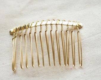 6 pcs of brass hair comb-55mm length-6030-18k gold
