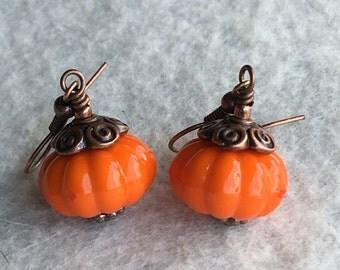 Vintage Style Acrylic Pumpkin Earrings Fall Pumpkins