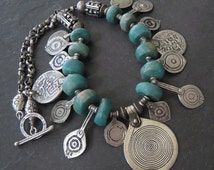 Vintage Amazonite Necklace with Moroccan Berber Silver Pendants