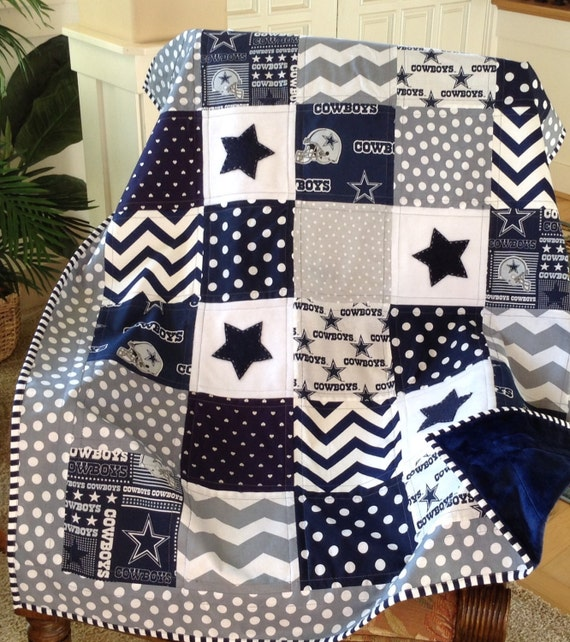 Dallas Cowboy Quilt In Navy Gray Amp White Nfl By Lovesewnseams