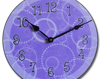 Purple Circles Wall Clock