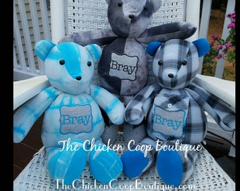 "Memory Bears ""18"" custom made from your loved ones clothes."