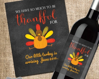 Thanksgiving Pregnancy Announcement, Baby Announcement Wine Bottle Label, Thanksgiving Wine Label Pregnancy, Holiday Baby Announcement