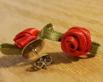 Ribbon Rosette Stud Earrings