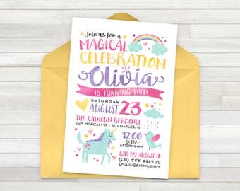 Rainbow Unicorn Birthday Invitation, Unicorn Invitation, Birthday Invitation, Unicorn Birthday Invitation, Unicorn Party - Printable