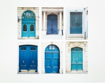 Photo Postcard Set- Paris Doors in Blue, set of 6 - Paris photo prints, Paris photography, French postcards, Paris Door Photos