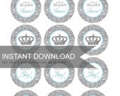 Cupcake Toppers - Baby Shower Glam Glitter in Silver and Baby Blue - DIY Printable - Download