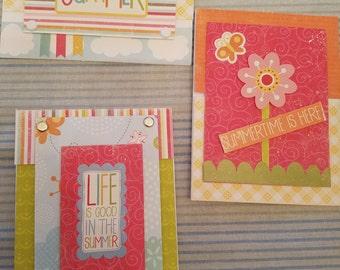 Hello Summer! Handmade cards set of three