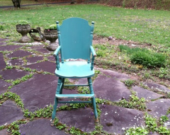 Vintage Wood High Chair with Old Worn Paint