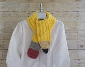 Pencil Scarf - Teacher Gift -  Crochet Scarf - Neck Warmer - Pencil Wrap - Gifts for Teachers - Women Scarves - Kids Scarf - Unique Scarves