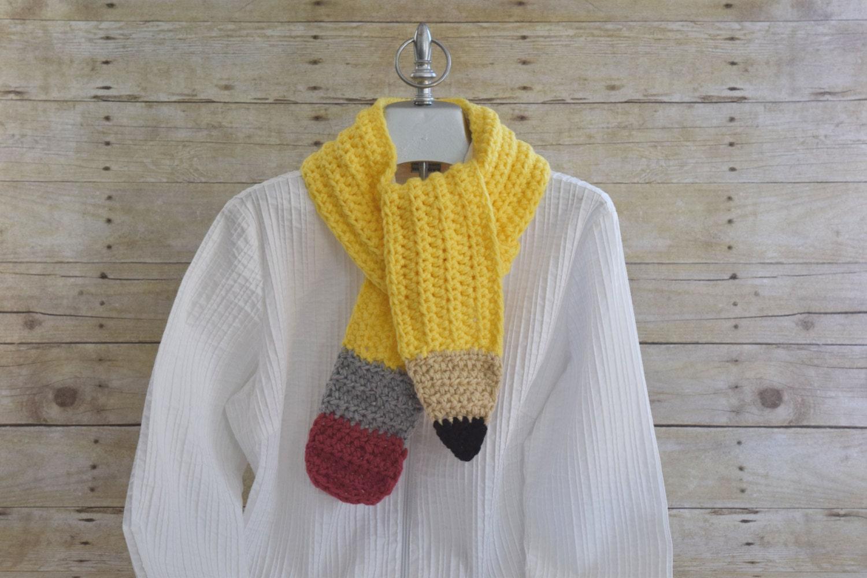Knitting Pattern For Pencil Scarf : Pencil Scarf Teacher Gift Crochet Scarf Neck Warmer