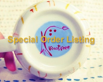 Reserved listing for Alice  -- Hand painted porcelain cup and saucer - Not Only Grass - wild flowers