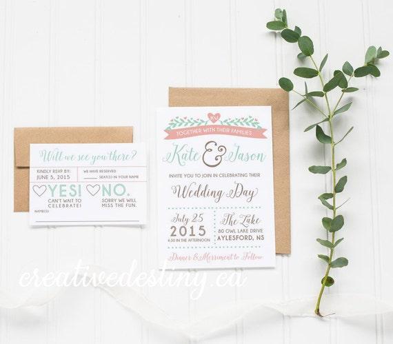 Outdoor Rustic Wedding Invitation Template Casual Wedding