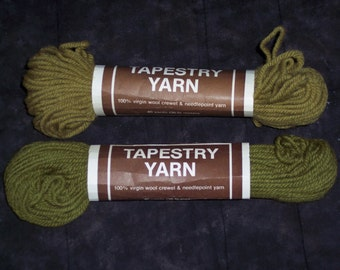 Vintage Tapestry Yarn,greens,40 yds,36.5M,Crewel, needlepoint,100% virgin wool,needlework