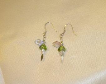 Apple Green Flower Earrings