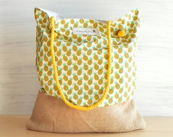 "BEACH BAG ""Pineapples""  -- to carry towel - Mediterranean Style"