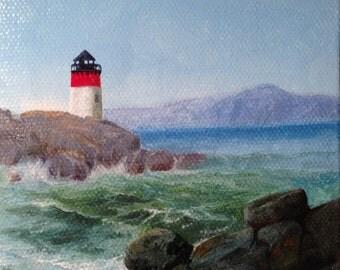 Lighthouse (B60) Miniature 4x4 Oil Painting Rocky Seashore Seascape Waves Coastline Ocean