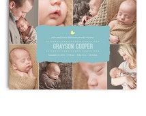 ON SALE Birth Announcement Card - Photoshop Template Design - 1037